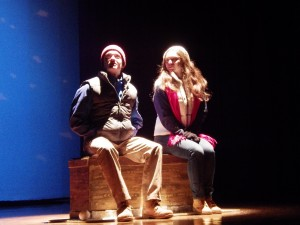 "Pete, left, and Ginette, played by Rob Battle and McKenzie Cleary, sit together in the opening scene of ""Almost, Maine."""