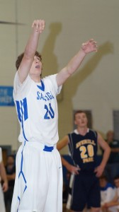 Saratoga senior Zack Stacey makes a shot during Friday's game.