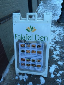 A sandwich board advertising Falafel Den's offerings.Sarah Marlin / The Lightning Rod