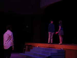 From left to right, Noah Casner as Matt, Liam McKenna as Calvin, and Carolyn Shields as Rosanna.Eli Fisher / The Lightning Rod