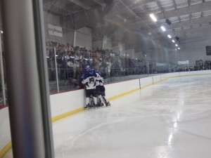 Several Blue Streaks celebrate against their student section after the team's first goal of the night, scored by Jack Rittenhouse in the second period.