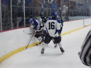 Saratoga's Cam McCall (#16) shortly after scoring his game-winning goal in the third period.