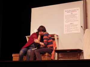 "Marvalyn, left, and Steve, played by Tess Myers and Henry Sinnott, kiss in ""Almost, Maine"