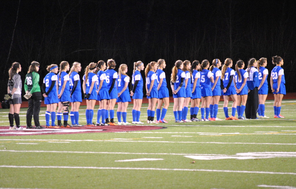 Saratoga's team lines up after the game. Niskayuna won the Section II Class AA girl's varsity soccer championship against Saratoga Springs on Wednesday.
