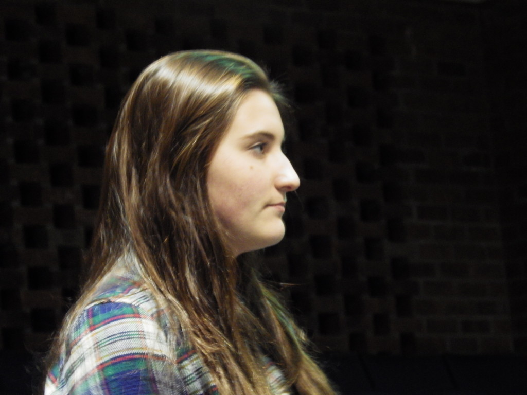 Julia Kelly '17 prepares to read a poem at Wednesday's competition.