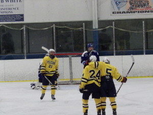Pelham players Hogan Peters '15, center, and WIll Cullen '14, right, celebrate after Cullen scored a second period goal to bring the Pelicans' lead to 5-2. A Blue Streak goal soon after would change this to 5-3 to close the period on Saturday.