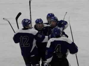 The Blue Streaks celebrate after scoring a late second period goal against Pelham to bring the score to 5-3 with Pelham winning.