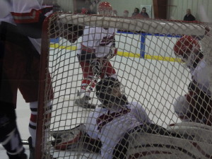 Niskayuna/Schenectady goalie James Blanchfield '16 after making a save during the game against Saratoga on Jan. 24.