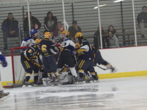 The blue Streaks unsuccessfully crashed the net during the third period.