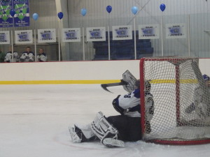 Saratoga goalie Danny Hobbs '16 recovers from Shen's first and only goal of the game, scored by Kyle Marr '14.