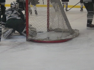 Shen goalie Jordan Moffre '16 after senior Drew Patterson's second-period goal for Saratoga.