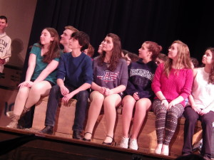 "Some of the cast of ""Footloose"" during rehearsal Wednesday."