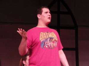 "Jordan Kohn '14 as Reverend Shaw during  Wednesday rehearsal for ""Footloose."""