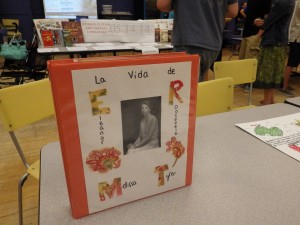 Part of a Spanish class's display at the Night of Inclusion.