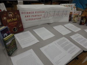 The Science Fiction and Fantasy Literature Class displayed and read writing at the Night of Inclusion.