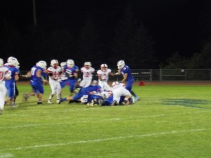 A pileup during the third quarter of Friday's game.