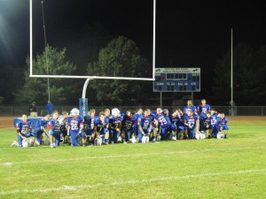 The Blue Streaks on the field after their 34-14 win over Guilderland.