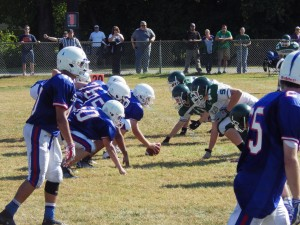 The line of scrimmage during a second quarter play.
