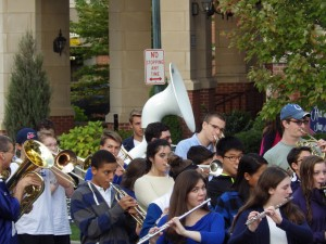 The high school band in the parade on High Rock Avenue.