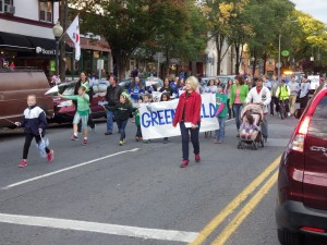 Greenfield Elementary School students march in the parade on Broadway.