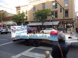 The freshman float in the parade.