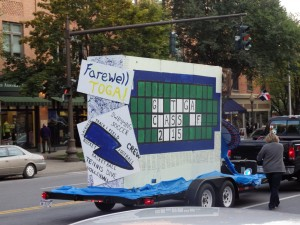 The senior class float is towed down Broadway during the parade.