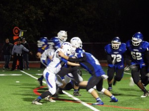 Saratoga's Mike Gyamarthy (#62) at the line of scrimmage.Eli Fisher / The Lightning Rod