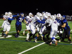 Saratoga's defense closes in on a La Salle possession.Eli Fisher / The Lightning Rod