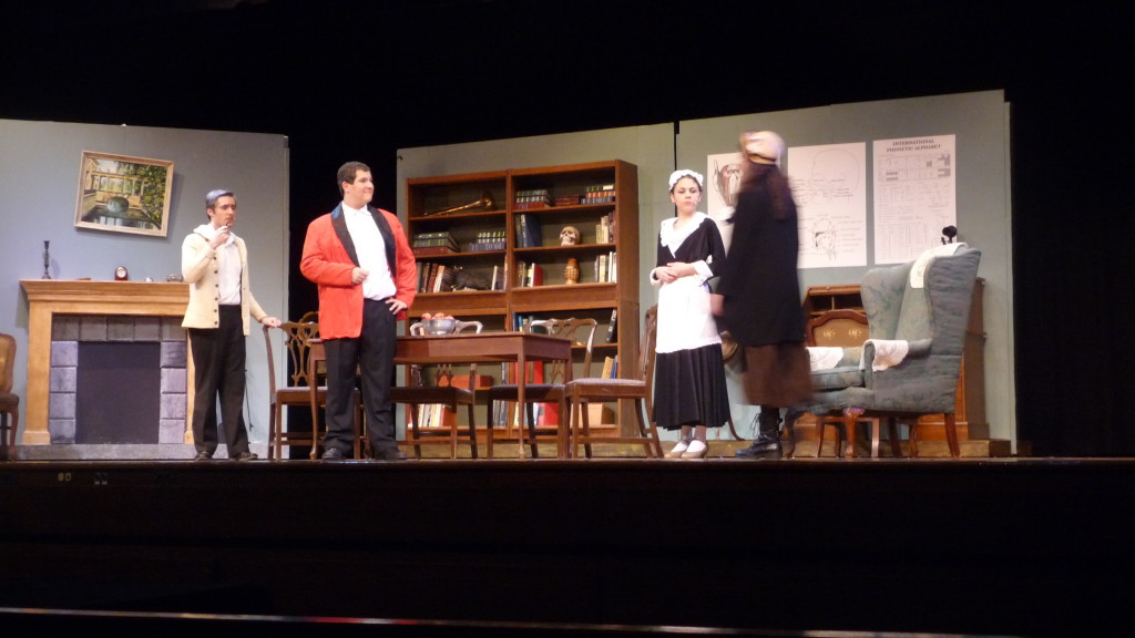 Left to right: David Murauskas as Colonel Pickering, Jordan Kohn as Professor Higgins, Emily Sayer as Mrs. Pearce, and Carolyn Shields as Eliza Doolittle during a dress rehearsal for Pygmalion Wednesday.