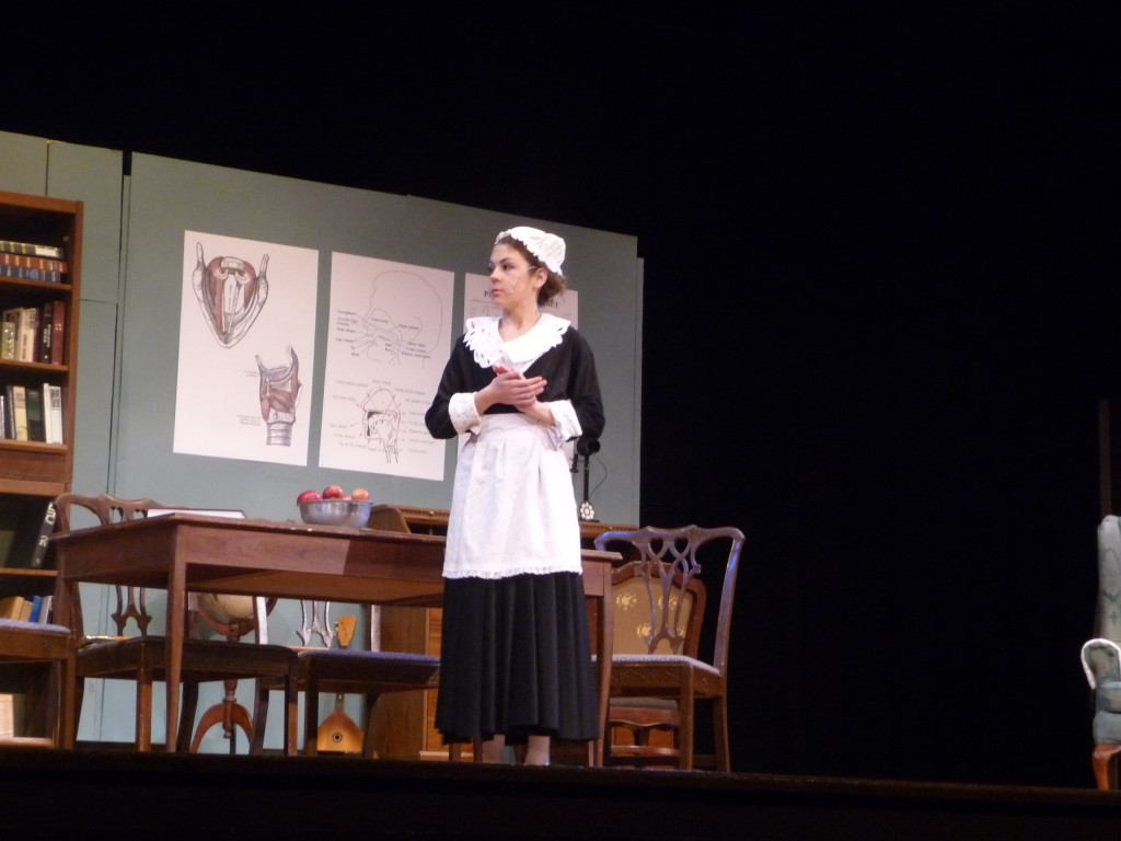 Emily Sayer (as Mrs. Pearce) rehearses for Pygmalion Wednesday. The show runs beginning Friday, Nov. 7.