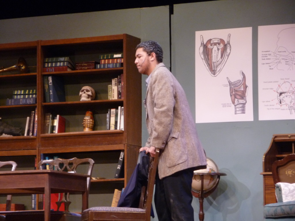 Davawn Hartz, as Alfred Doolittle, during a dress rehearsal for Pygmalion Wednesday.