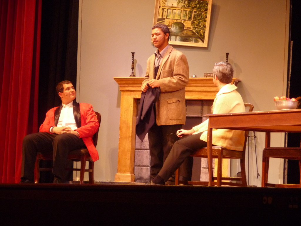 Jordan Kohn (as Professor Higgins), Davawn Hartz (as Alfred Doolittle), and David Murauskas (as Colonel Pickering) during a dress rehearsal for Pygmalion Wednesday.