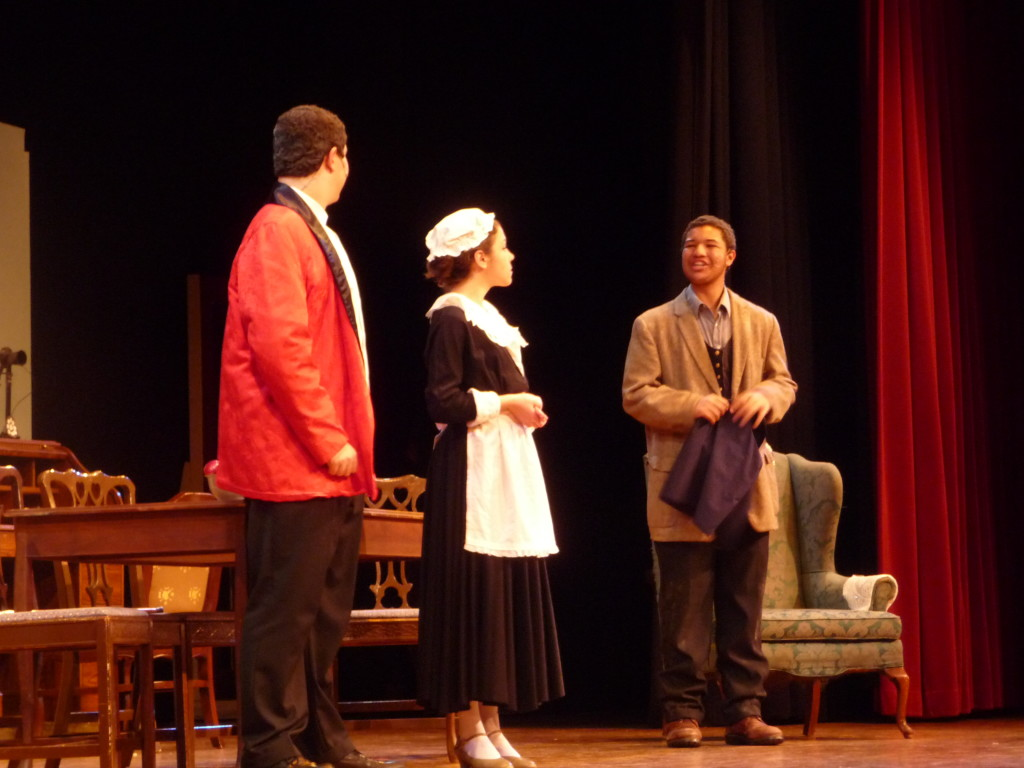 Jordan Kohn (as Professor Higgins), Emily Sayer (as Mrs. Pearce), and Davawn Hartz (as Alfred Doolittle) during a dress rehearsal for Pygmalion Wednesday.