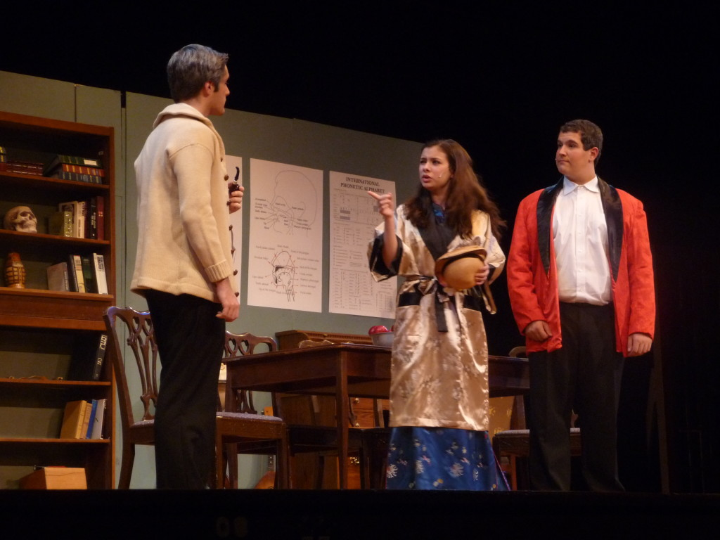 David Murauskas as Colonel Pickering, Carolyn Shields as Eliza Doolittle, and Jordan Kohn as Professor Higgins during a dress rehearsal for Pygmalion Wednesday.