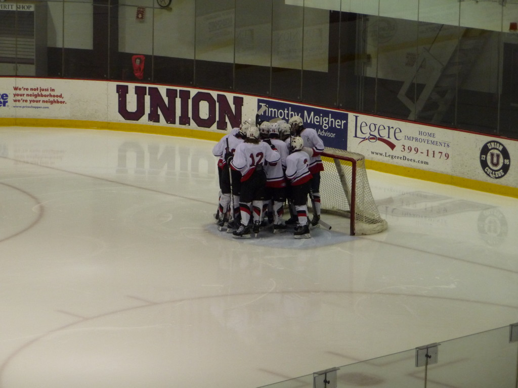 The Storm's team huddle before the game.