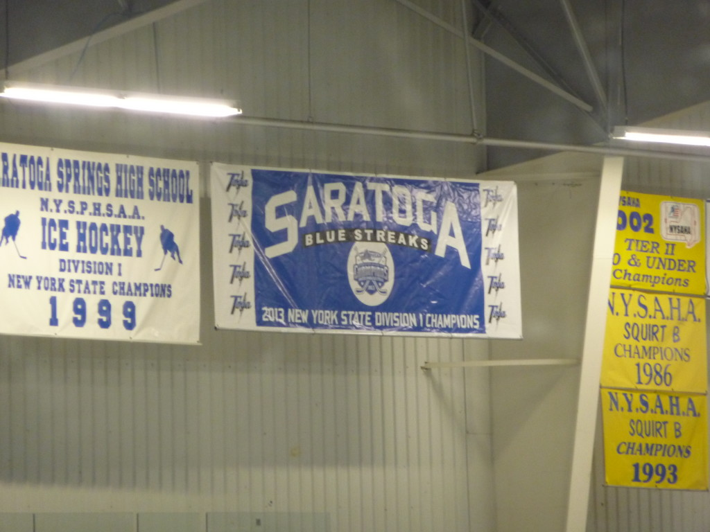 The hockey team unveiled its championship banner at Thursday's game. The 2012-2013 Blue Streaks were New York State Champions.