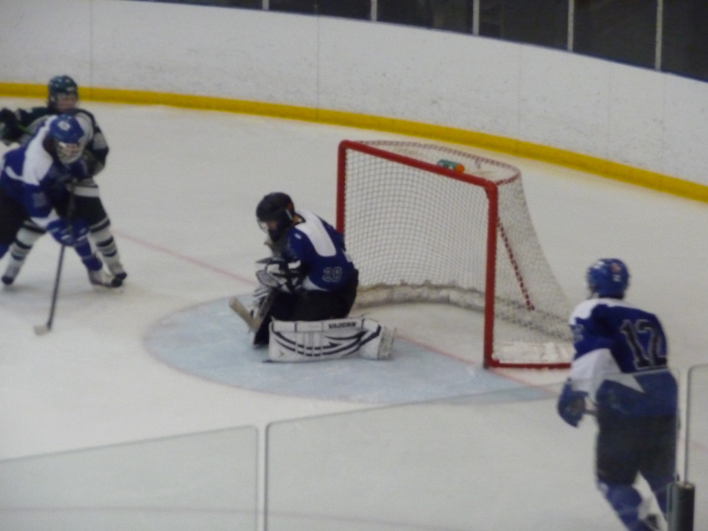 Saratoga goalie Danny Hobbs '16 makes a save in the third period. Hobbs had an 87% save percentage for the game, and has 93% overall.