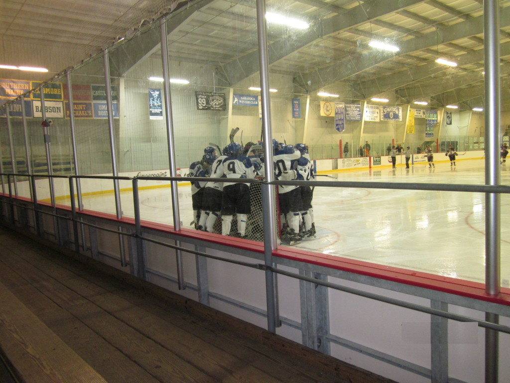 The Blue Streaks celebrate after their 5-1 win against St. Joe's Collegiate on Saturday.